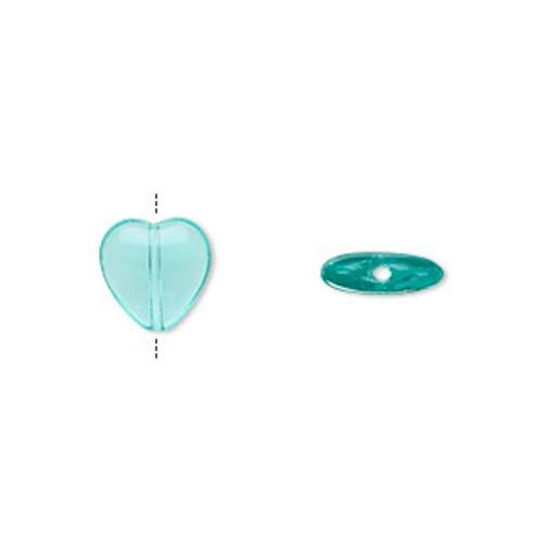 1 Strand Czech Pressed Glass Aqua HEART Beads ~ 8mm