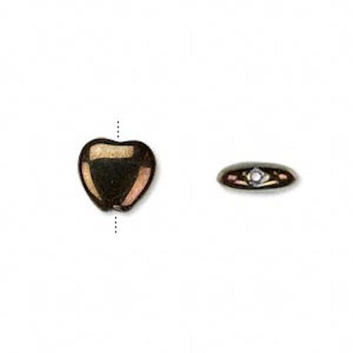 1 Strand Czech Pressed Glass Fancy Finish Iris Brown HEART Beads ~ 10mm *