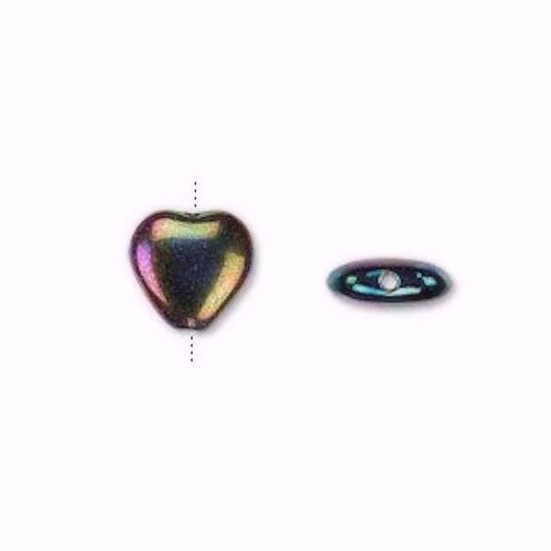 1 Strand Czech Pressed Glass Fancy Finish Iris Purple HEART Beads ~ 10mm *