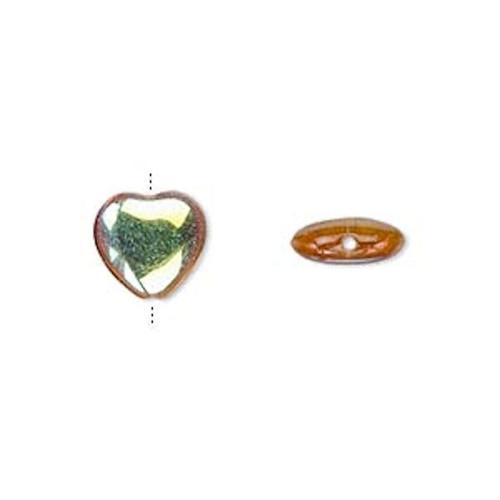 1 Strand Czech Pressed Glass Honey AB HEART Beads ~ 10mm *
