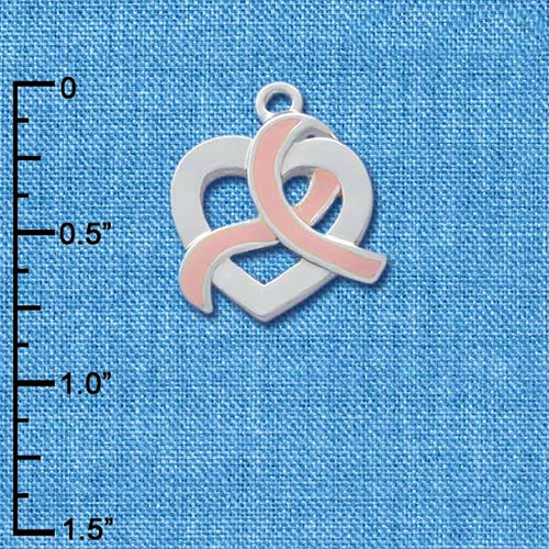 2 Silver Plated & Enameled Pink Ribbon Awareness Heart Charms