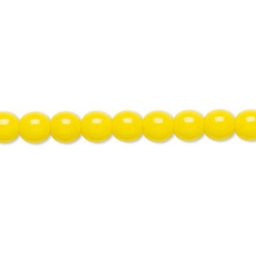 1 Strand Czech Druk Glass Round Opaque Yellow Beads ~ 6mm
