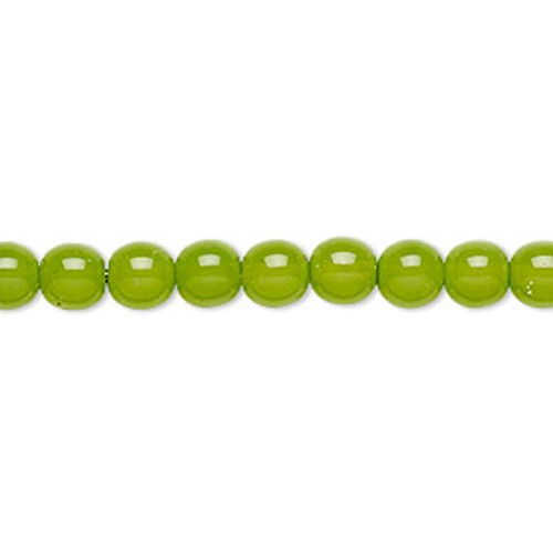 1 Strand Czech Druk Glass 6mm Round Lime Green Beads