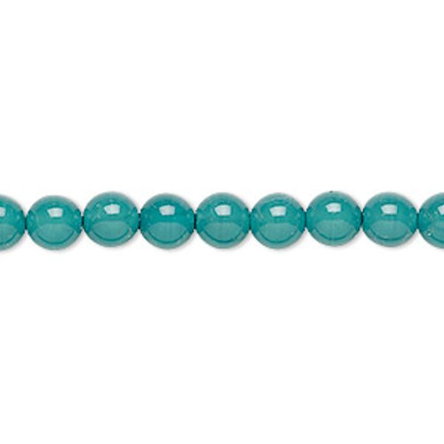 1 Strand Czech Druk Glass Round Teal Beads ~ 6mm