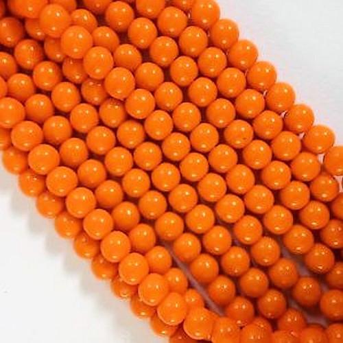 100  Czech Pressed Glass Opaque Orange 6mm Round Beads  *