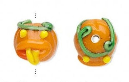 4 Lampwork Glass Orange Pumpkin With Tongue Halloween Beads *~ 15x13mm *