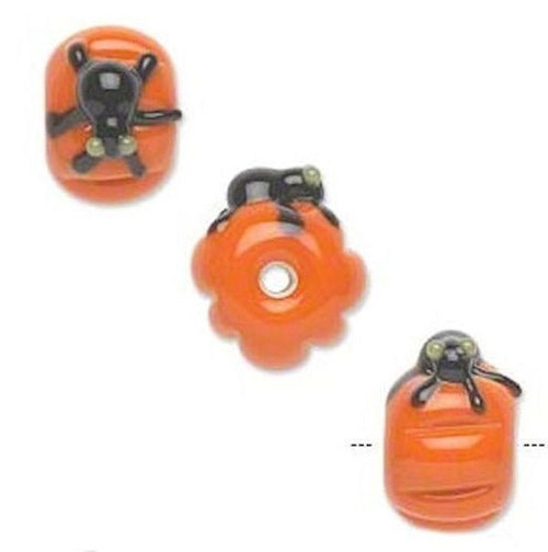 2 Lampwork Glass Opaque Orange & Black Spider Coin Beads ~ 19x11mm *