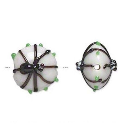 2 Lampwork Glass Opaque 15x13mm White & Black Spider Coin Beads *