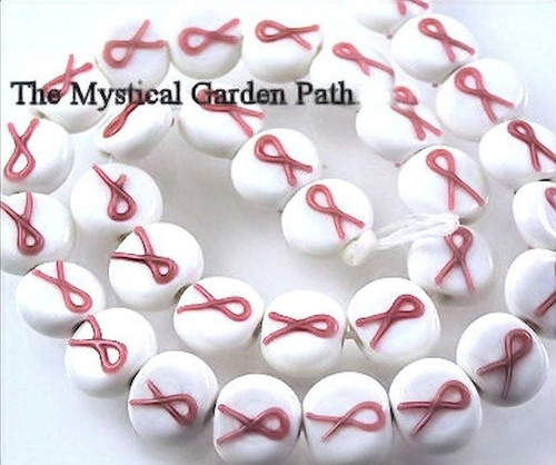 6 White Breast Cancer Awareness Pink Ribbon 14mm Coin Beads  *