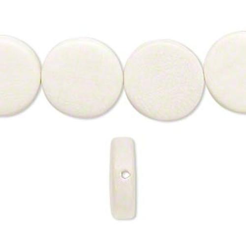 1 Strand  White Wood 15mm Flat Round Coin Beads *