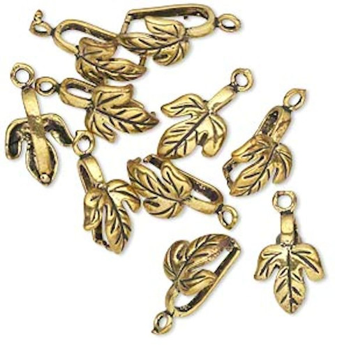 10 Antiqued Gold Plated Brass Maple Leaf Prong Bails  ~ 12.5x9.5x5mm *