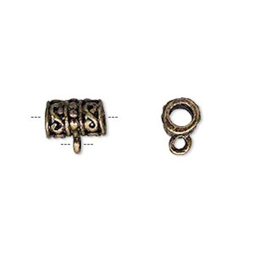 10 Antiqued Brass Plated Pewter 13x9mm Filigree Tube Slider Bead with Loop