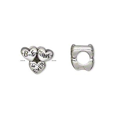 1 Antiqued Silver Plated Pewter 5mm Large Hole Heart Bead ~ Be Mine 4 Ever