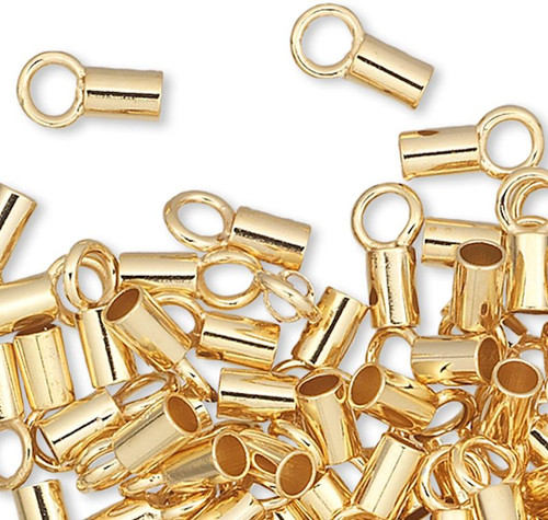 10 Gold Plated Brass 3.5x2mm Crimp Tube Ends with Loop with 1.6mm ID