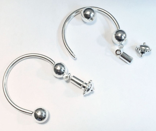 2 Silver Horseshoe Key Chain Rings with Loop & Ball Ends Dangler for Beads Charms*