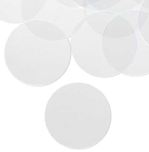 20 Clear Altered Art Flat Art Glass 1.25 Inch Circles with Grounded Edges
