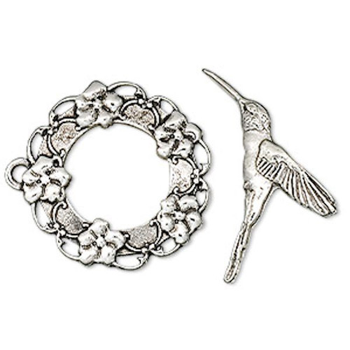 1 Set Antiqued Silver Plated Pewter Hummingbird & Wreath Toggle Clasp