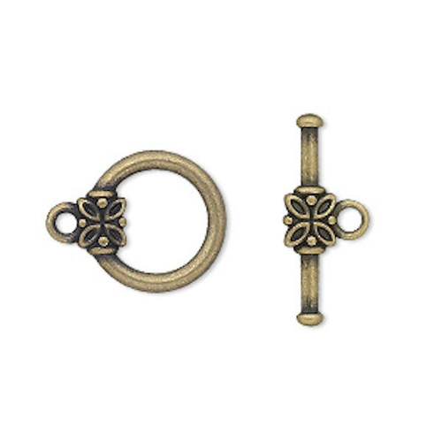 10 Antiqued Gold Plated Pewter 14mm Round with Flower Toggle Clasps
