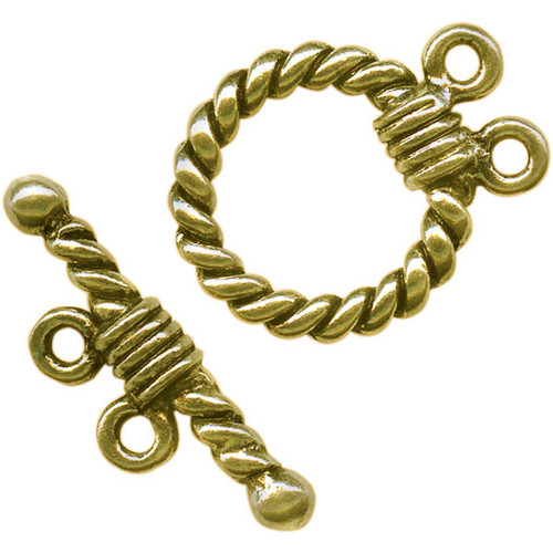 1 Set Antiqued Gold Pewter 2 Strand 15mm Rope Ring Toggle Clasp *