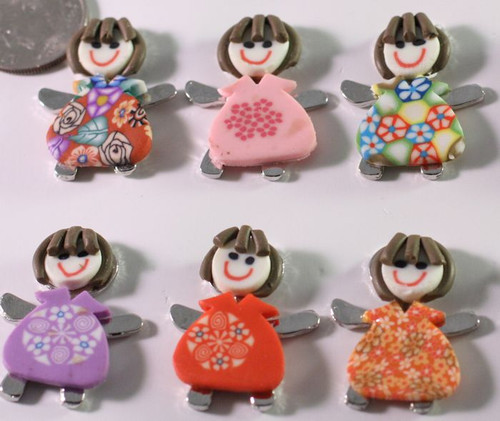 12 Polymer Clay & IR Pewter Multi Colored Girl Charms with Hidden Loop *
