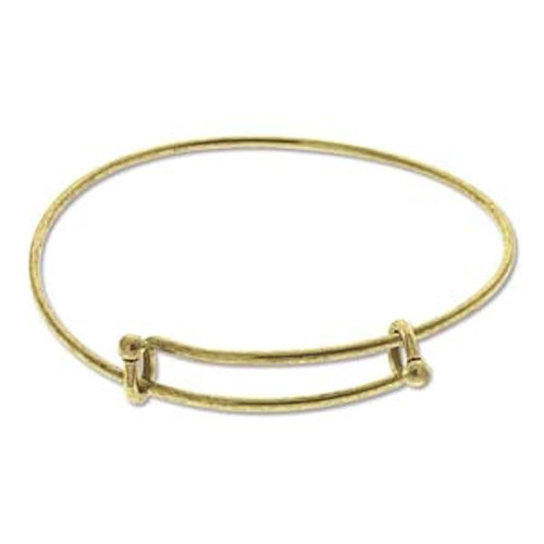 1 Antiqued Gold Plated Bangle Adjustable Beading Bracelets ~ Add Beads & Charms!