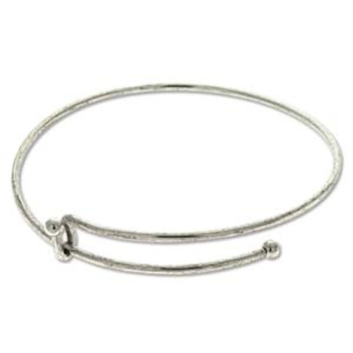 1 Antiqued Silver Plated Bangle Adjustable Beading Bracelets ~ Add Beads & Charms!
