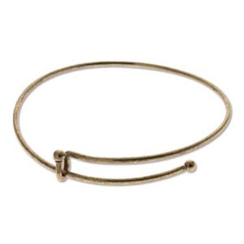 1 Antiqued Brass Plated Bangle Adjustable Beading Bracelet ~ Add Beads & Charms!