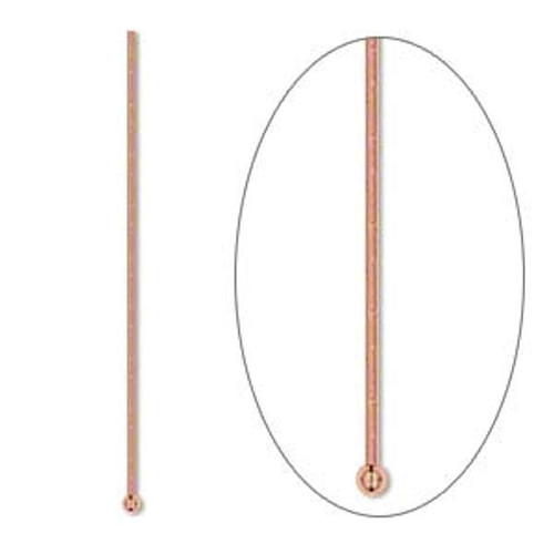 100 Pure Copper 3/4 Inch Long 22 Gauge Headpins with 1.5mm Ball