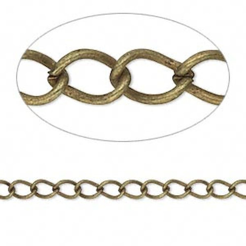 16 Feet Antiqued Brass Plated Steel Lightweight Curb Chain with 5x3mm Links