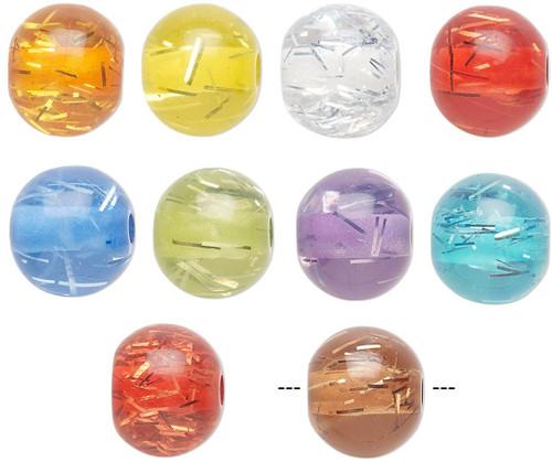 100  Acrylic Translucent Sparkler 12mm Round Bead Mix  *