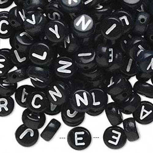 200 Black Acrylic 2 Sided Alphabet Coin Beads ~ 7mm