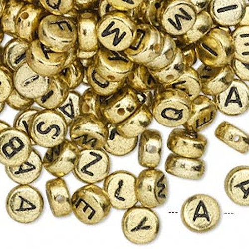200 Gold Acrylic 2 Sided Alphabet 6.5mm Coin Beads With Black Letters 1mm Hole