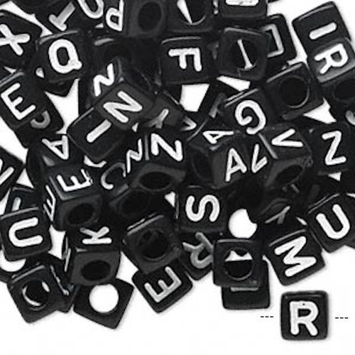 100 Black Acrylic Alphabet 6x6mm Square Cube Beads with 3.5mm Hole