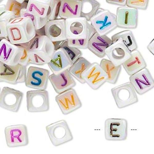 100 White AB Acrylic Alphabet Cube Beads ~ 6x6mm *