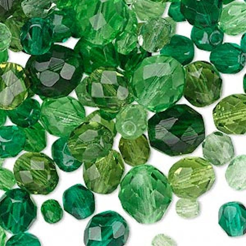 100 Czech Fire Polished Glass Green Mix 4-10mm Faceted Round Beads *