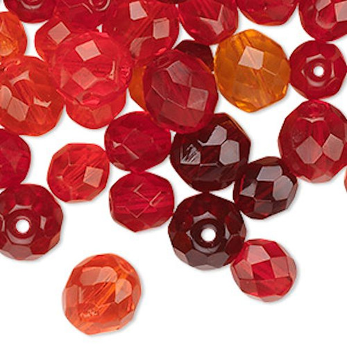 100 Czech Fire Polished Glass Faceted Round Beads ~  Red Mix