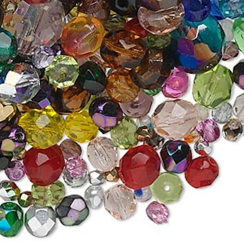1,300+ Czech Fire Polished Glass Faceted Bead MIX ~ 1/2 Kilogram *