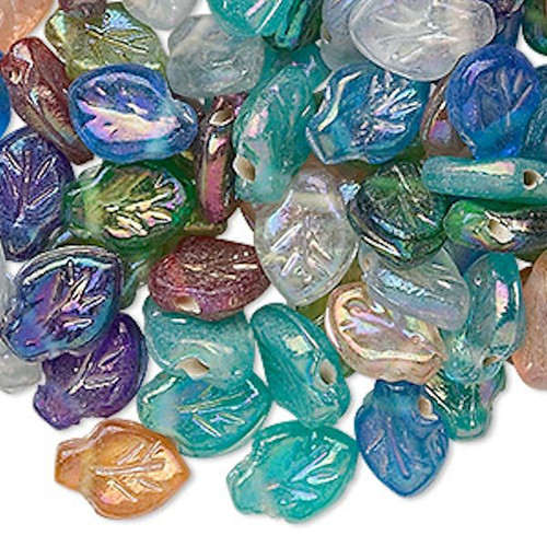100 Pressed Glass Multicolor Luster Leaf Beads ~ 12x9mm Leaves