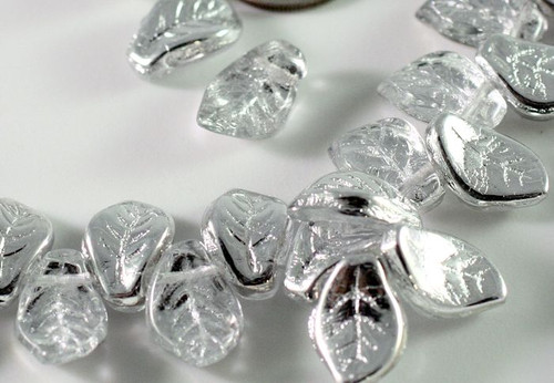 1 Strand Silver Czech Pressed Glass Leaf Beads ~ 14x9x4mm Leaves