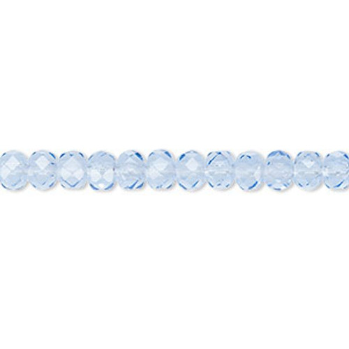 Strand Czech Fire Polished Glass Rondelle Beads ~ 5x4mm ~ Sapphire Blue