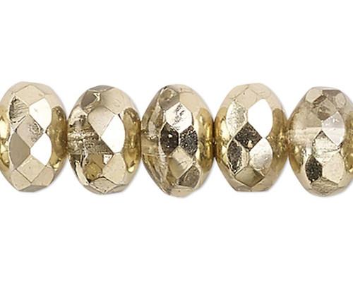 1 Strand Metallic Gold Czech Fire Polished Glass  7x5mm Rondelle Beads