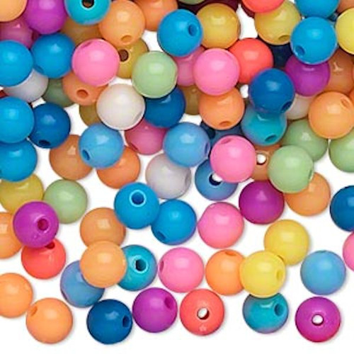 1,116 Acrylic Round 6mm Beads ~ Opaque Summer Color Mix