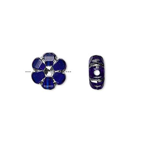 100 Grams Cobalt Blue Silver Accent 10mm Acrylic Flower Beads *