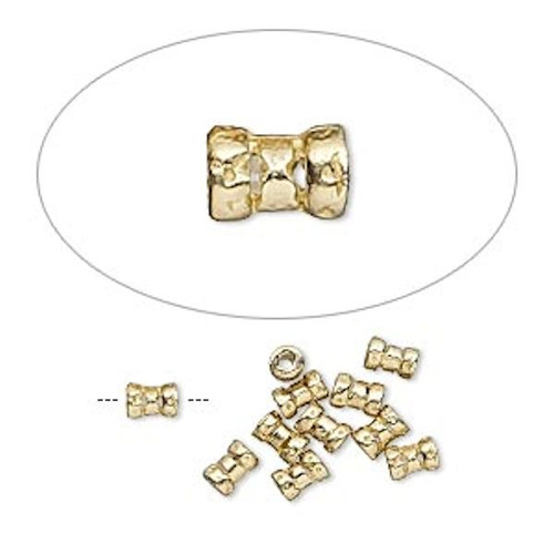 10 Brass 4x2.5mm Tube Crimp Beads ~ 1mm ID