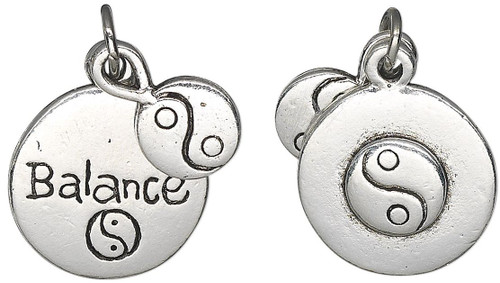 1 Antiqued Silver Plated Pewter Double Sided Charm Yin-Yang Balance