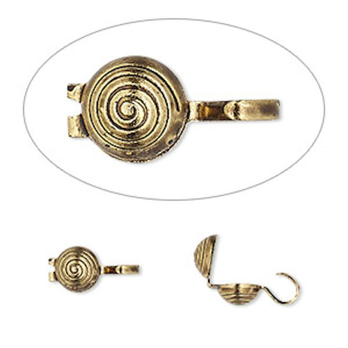 100 Antiqued Gold Plated  Brass 9x5mm Spiral Bead Tips to Hide Knots `