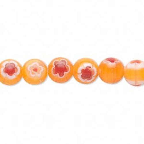 1 Strand Light Orange, Red & White Millefiori Glass 8mm Round Beads *