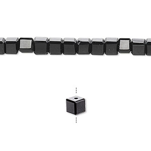 1 Strand 18 Facet Crystal Black 4x4mm Cube Beads `
