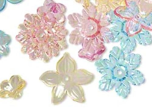 1/4 LB Assorted Acrylic Flower Beads  Approximately 250 beads