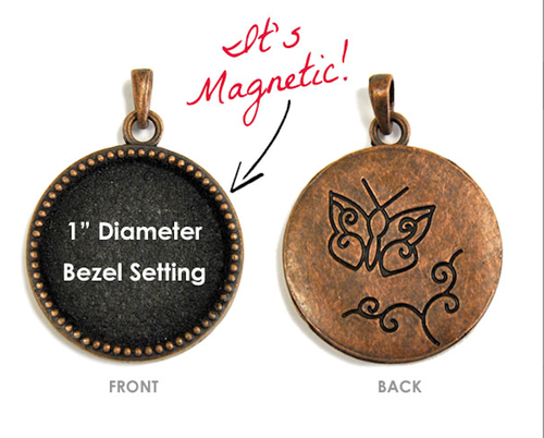 "1 Antiqued Copper 1"" Beaded Interchangeable Magnetic Bezel Set Pendant ~ Butterfly"